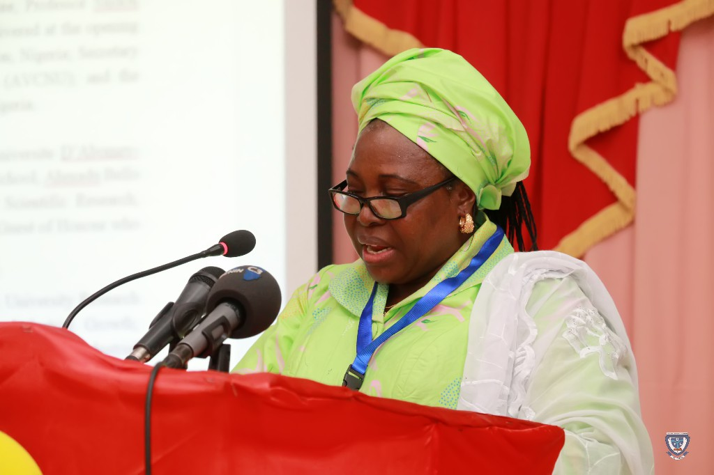 The Vice-Chancellor, Prof. Angela F. Miri making her presentation at the 7th Conference and 9th AGM of the Association of West Africa Universities held in Benin Republic