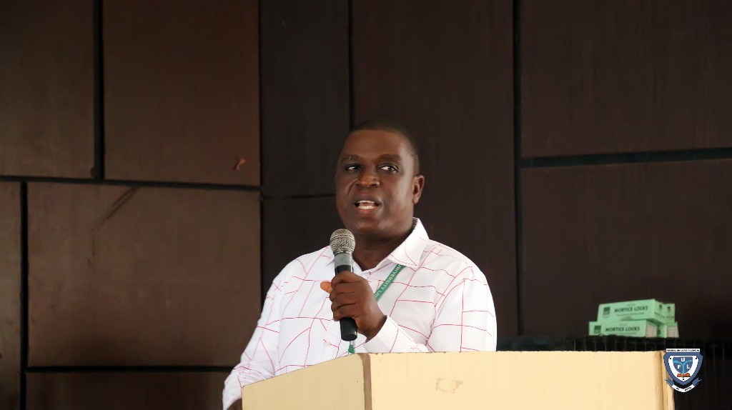 Mr. Rotimi Peter Akintokunbo from the ICT Directorate delivering lecture on ICT facilities and usage at the orientation programme