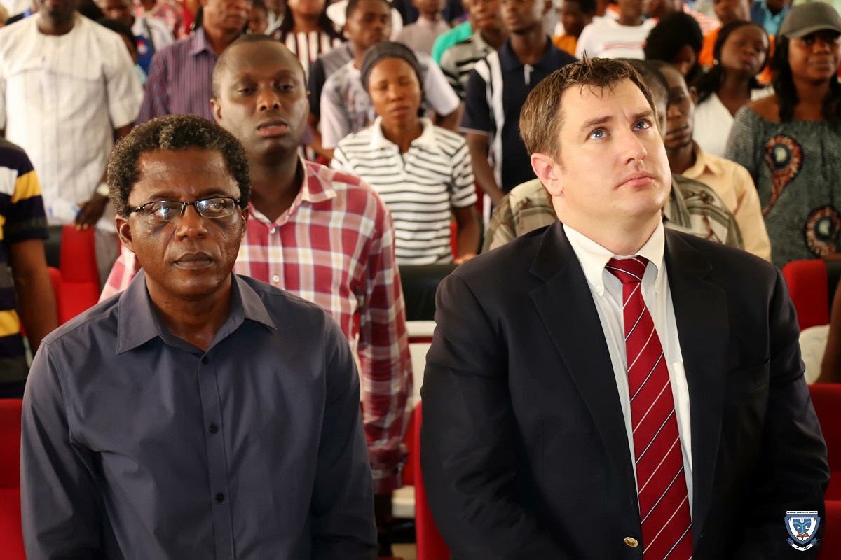 Dr. Joseph Abel, Dean of Student Affairs flanked by Mr. Laurence J. Socha, Cultural Affairs Officer, U.S. Embassy in Nigeria